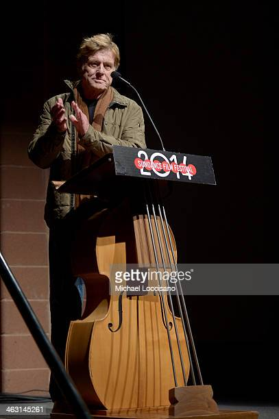Sundance Institute President and Founder Robert Redford speaks ontage during the premiere of 'Whiplash' at the Eccles Center Theatre during the 2014...