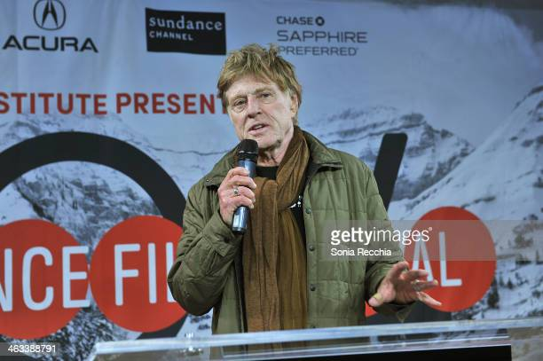 Sundance Institute President and Founder Robert Redford speaks onstage during the Sundance Institute Documentary Film Program Reception at Sundance...
