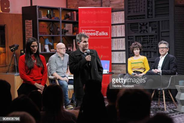 Sundance Programmer John Nein speaks during the Cinema Cafe with Ira Glass and Miranda July Times Talks during the 2018 Sundance Film Festival at...