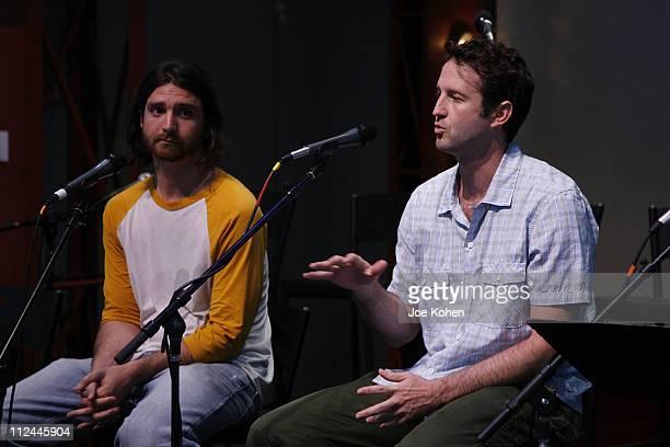 Sundance Shorts programmer Todd Luoto and Senior programmer Trevor Groth talk on stage at The Skinny on Sundance Shorts Panel Discussion at the...