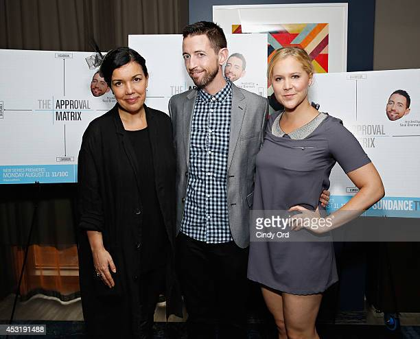 Sundance TV President Sarah Barnett 'The Approval Matrix' host/ comedian Neal Brennan and comedian Amy Schumer attend the New York Magazine and...