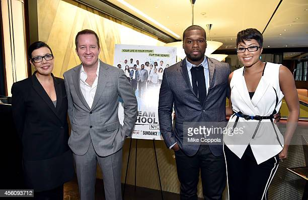 SundanceTV President and General Manager Sarah Barnett executive producers of 'Dream School NYC' Andrew Jameson and Curtis '50 Cent' Jackson and E...