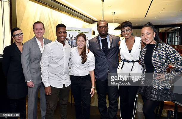SundanceTV President and General Manager Sarah Barnett executive producer of 'Dream School NYC' Andrew Jameson Dream School NYC students Gabe and...
