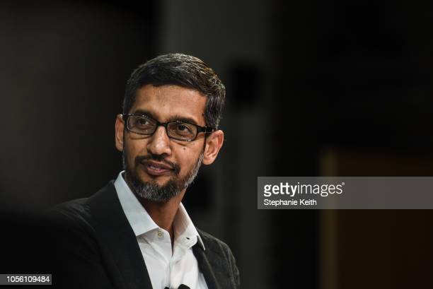 Sundar Pichai CEO Google Inc speaks at the New York Times DealBook conference on November 1 2018 in New York City