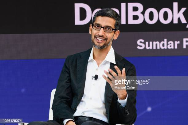 Sundar Pichai CEO Google Inc speaks onstage during the 2018 New York Times Dealbook on November 1 2018 in New York City