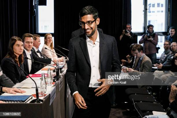 Sundar Pichai CEO of Google arrives before the festive opening of the Berlin representation of Google Germany on January 22 2019 in Berlin Germany...