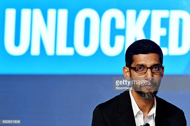 Sundar Pichai chief executive officer of Google Inc attends a news conference in New Delhi India on Wednesday Jan 4 2017 Google expects to have a...