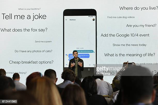 Sundar Pichai chief executive officer of Google Inc discusses the Google Pixel virtual assistant during a Google product launch event in San...