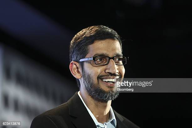 Sundar Pichai chief executive officer of Google Inc reacts during an event at Google's Kings Cross office in London UK on Tuesday Nov 15 2016 After...