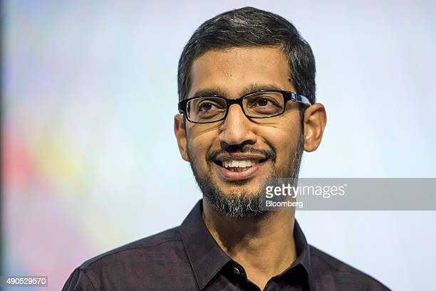 Sundar Pichai chief executive officer of Google Inc smiles during an event in San Francisco California US on Tuesday Sept 29 2015 Google unveiled its...