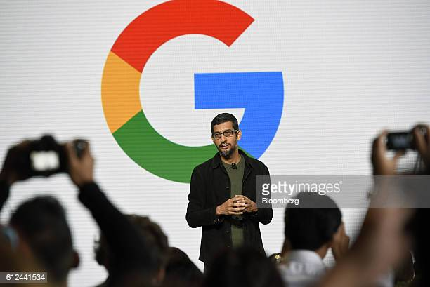 Sundar Pichai chief executive officer of Google Inc speaks during a Google product launch event in San Francisco California US on Tuesday Oct 4 2016...