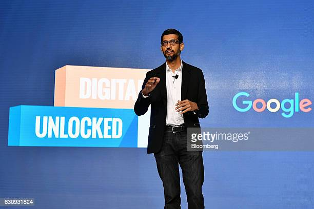 Sundar Pichai chief executive officer of Google Inc speaks during a news conference in New Delhi India on Wednesday Jan 4 2017 Google expects to have...