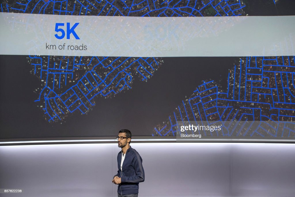 Sundar Pichai, chief executive officer of Google Inc., speaks during a product launch event in San Francisco, California, U.S., on Wednesday, Oct. 4, 2017. Google unveiled the second generation of its own devices along with an array of entirely new gadgets, plowing the company deeper into a competitive consumer hardware market. Photographer: David Paul Morris/Bloomberg via Getty Images