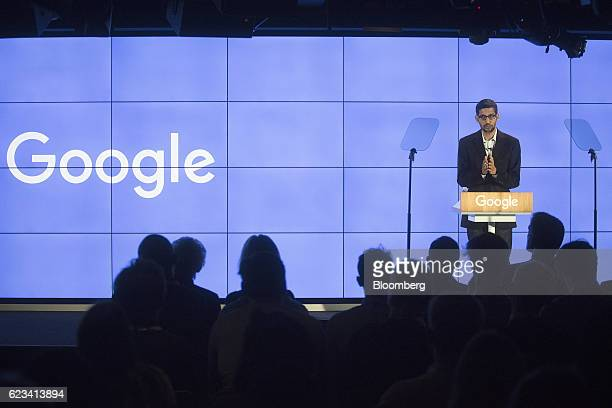 Sundar Pichai, chief executive officer of Google Inc., speaks during an event at Google's Kings Cross office in London, U.K., on Tuesday, Nov. 15,...