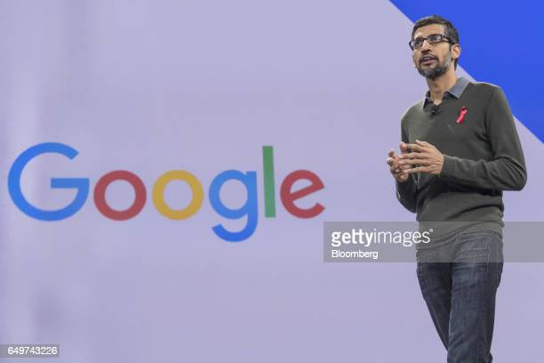 Sundar Pichai chief executive officer of Google Inc speaks during the company's Cloud Next '17 event in San Francisco California US on Wednesday...