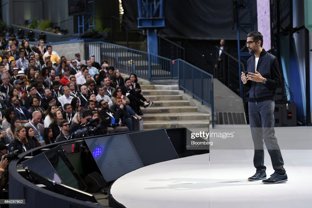 Sundar Pichai, chief executive officer of Google Inc., speaks during the Google I/O Annual Developers Conference in Mountain View, California, U.S., on Wednesday, May 17, 2017. Google's artificial intelligence-based voice Assistant is on more than 100 million devices now, and the company is leveraging a longtime competitor to expand the technology to even more people. Photographer: Michael Short/Bloomberg via Getty Images