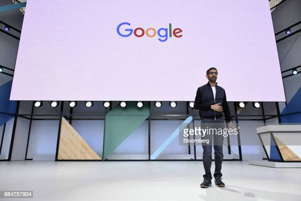 Sundar Pichai chief executive officer of Google Inc speaks during the Google I/O Annual Developers Conference in Mountain View California US on...