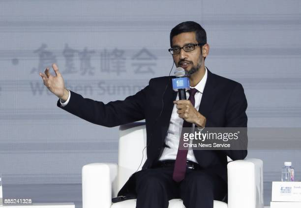 Sundar Pichai, chief executive officer of Google Inc., speaks during the 4th World Internet Conference on December 3, 2017 in Wuzhen, China. The 4th...