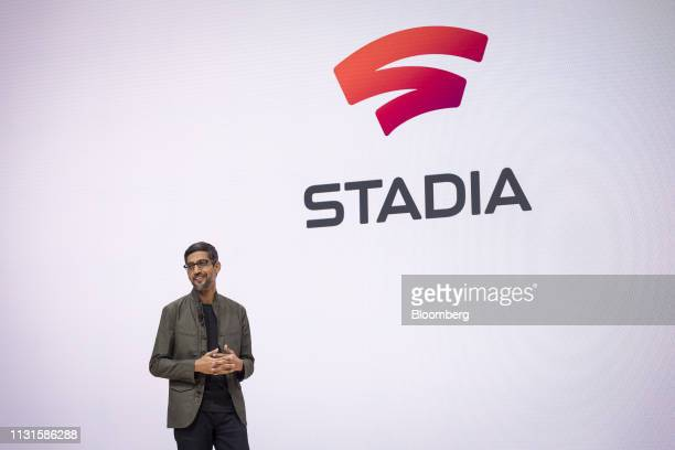Sundar Pichai chief executive officer of Google LLC speaks during an event at the Game Developers Conference in San Francisco California US on...