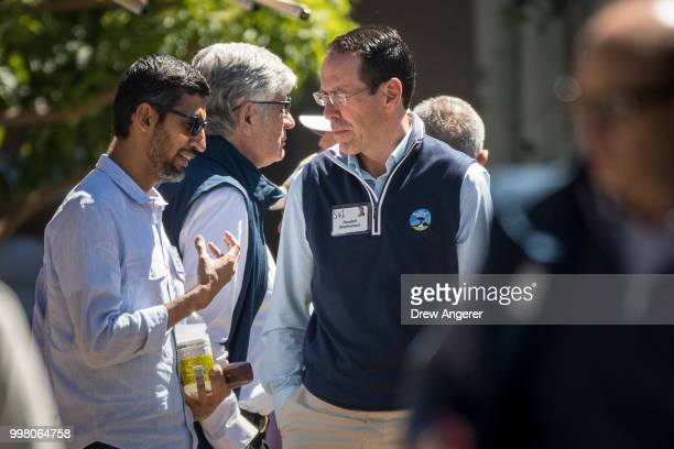 Sundar Pichai chief executive officer of Google talks with Randall Stephenson chief executive officer of ATT during the annual Allen Company Sun...