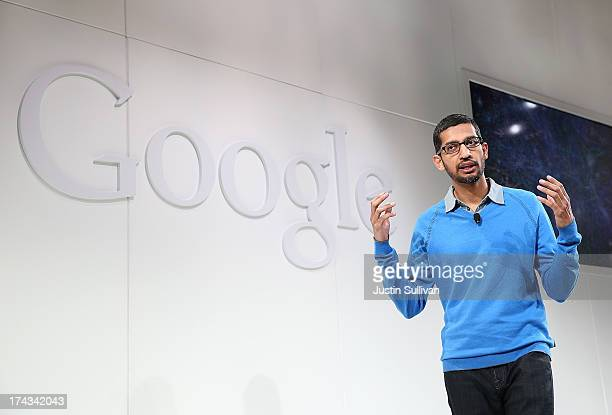 Sundar Pichai Google's senior vice president in charge of Android and Chrome speaks during a special event at Dogpatch Studios on July 24 2013 in San...