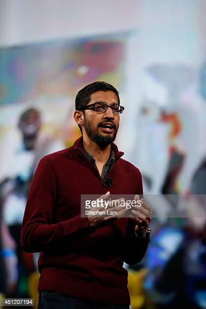 Sundar Pichai Senior Vice President Android Chrome Apps speaks on stage during the Google I/O Developers Conference at Moscone Center on June 25 2014...