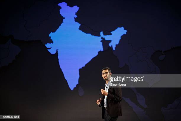 Sundar Pichai senior vice president of Android Chrome and Apps at Google Inc speaks in front of a map of India during the company's Android One...