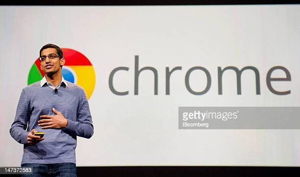Sundar Pichai senior vice president of Chrome and Apps at Google Inc speaks during the Google I/O conference in San Francisco California US on...