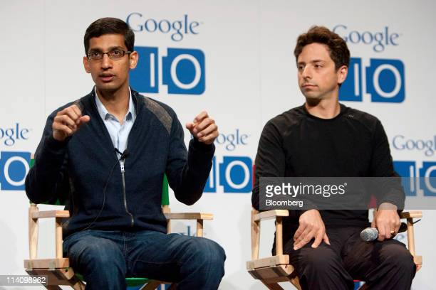 Sundar Pichai senior vice president of Chrome at Google Inc left speaks while Sergey Brin cofounder of Google Inc listens during a press conference...