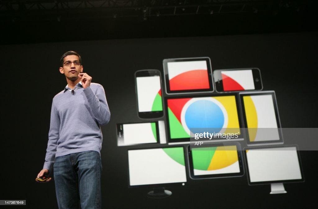 Sundar Pichai, senior vice president of Chrome, speaks at Google's annual developer conference, Google I/O, in San Francisco on June 28, 2012. AFP PHOTO/Kimihiro Hoshino