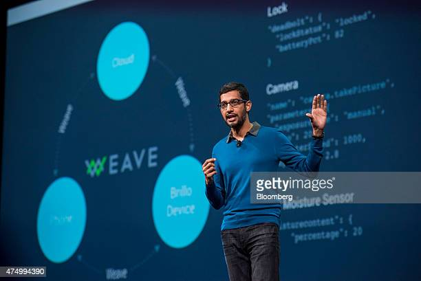 Sundar Pichai senior vice president of products for Google Inc speaks during the Google I/O Annual Developers Conference in San Francisco California...