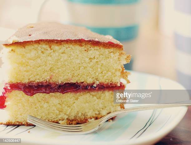 sunday afternoon tea - sponge cake stock pictures, royalty-free photos & images