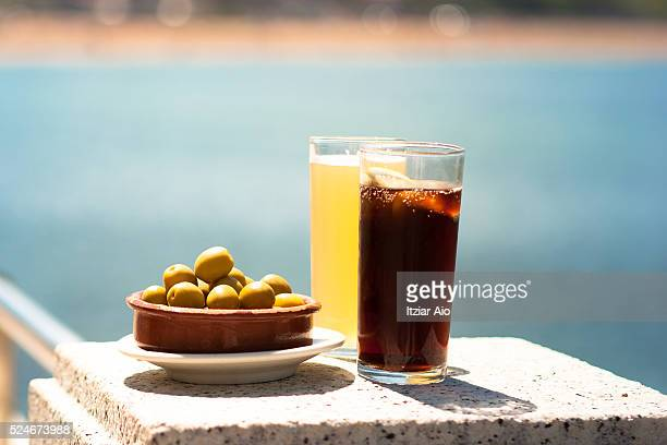 Sunday appetizer, olives and drink