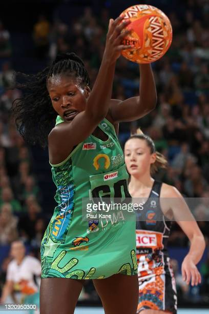Sunday Aryang of the Fever in action during the round five Super Netball match between the West Coast Fever and the Greater Western Sydney Giants at...