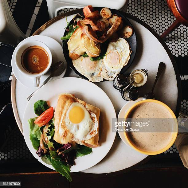 Sunday brunch in cafe, seen straight from above