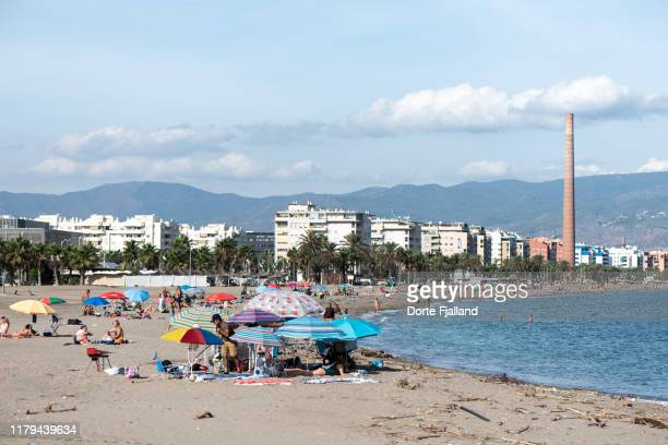 sunday by the beach in málaga on a sunny winter's day - dorte fjalland stock pictures, royalty-free photos & images