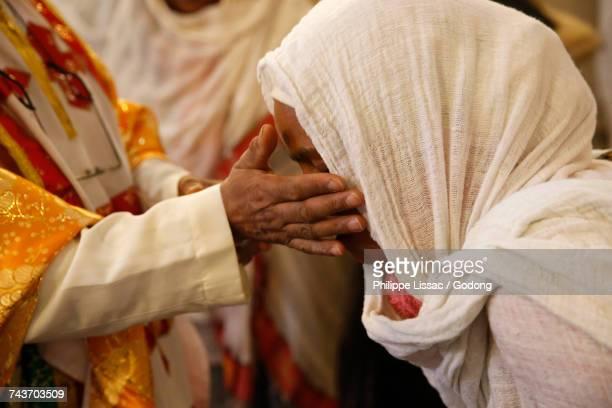 Sunday celebration in Kidane Mhret coptic Erytrean church (in Santa Maria Labarum Coelis church). Italy.