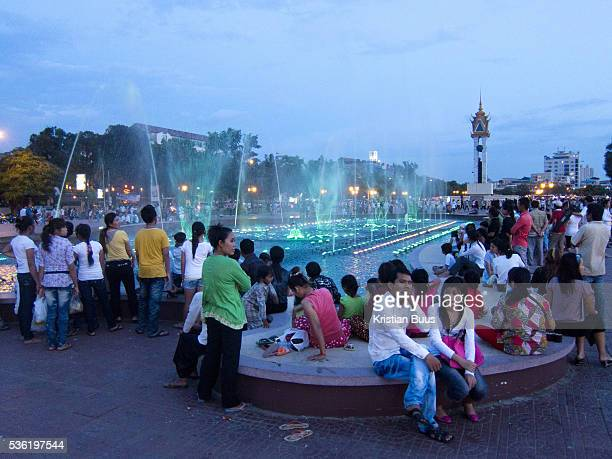 Sunday evening in one of Phnom Penh's many public parks. Many families meet in the park and spend the Sunday off enjoying each other's company. A...