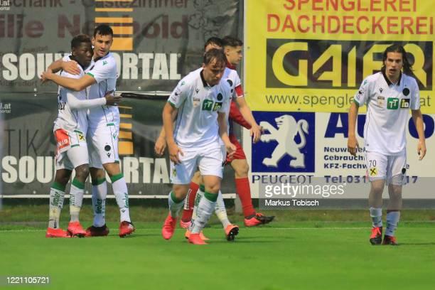 Sunday Faleye of Innsbruck and Raffael Behounek of Innsbruck jubilation during the 2Liga match between Grazer AK1902 and FC Wacker Innsbruck at...