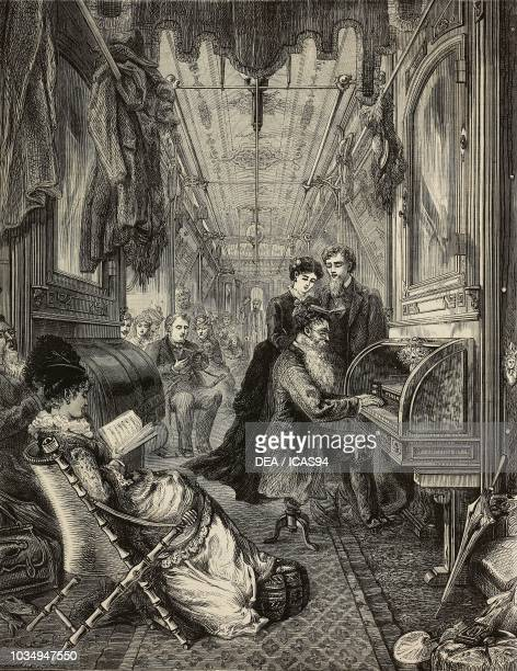 Sunday in a Union Pacific Railway carriage, United States of America, engraving from The Illustrated London News, No 1858, March 20, 1875.