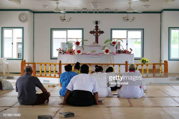 Sunday is a day of family and church on August 15 2018 in Funafuti Tuvalu There are many churches on the mainland and people walk to their local one...