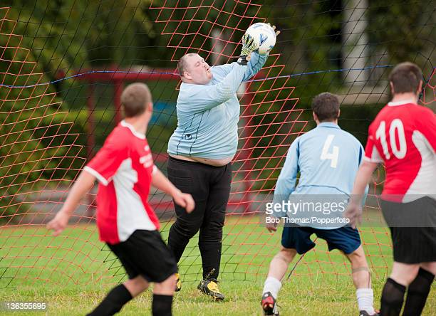 Sunday League football being played on the Racecourse in Northampton England 5th September 2009 This image shows the goalkeeper for the Bat Wickets...