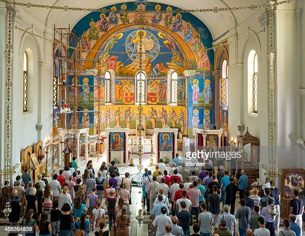 sunday mass in orthodox church - trebinje, bosnia and hercegovina - religious mass stock pictures, royalty-free photos & images