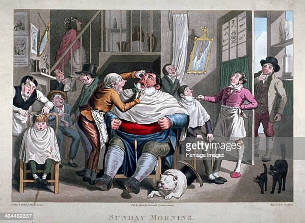'Sunday Morning' c1825 Scene inside barber's shop a hop boy receives a haircut a large man being brutally shaved bellows with rage another customer...