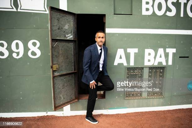 Sunday Night Baseball color commentator Matt Vasgersian exits the Green Monster before a game between the Boston Red Sox and the New York Yankees on...