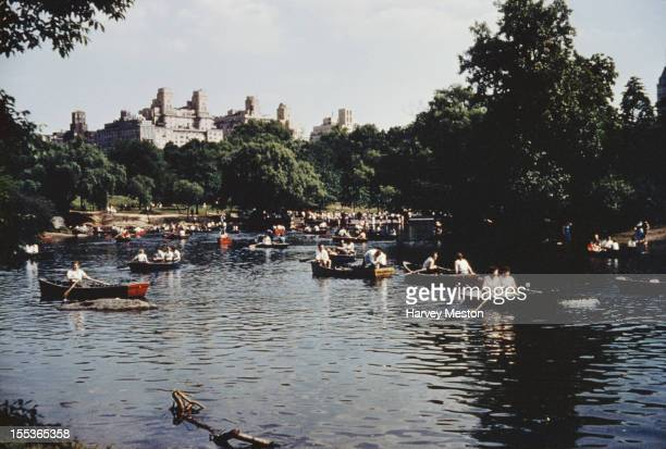 Sunday on the boating lake in Central Park New York City circa 1970