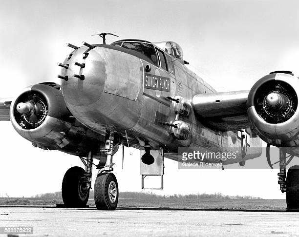 Sunday Punch Mitchell B25 Bomber given to the US Army Air Force by K25 construction workers of West Oak Ridge 1945 McGhee Tyson Air Port The town of...