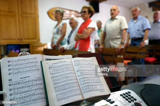 Sunday service at a Protestant church. Cluses, France.