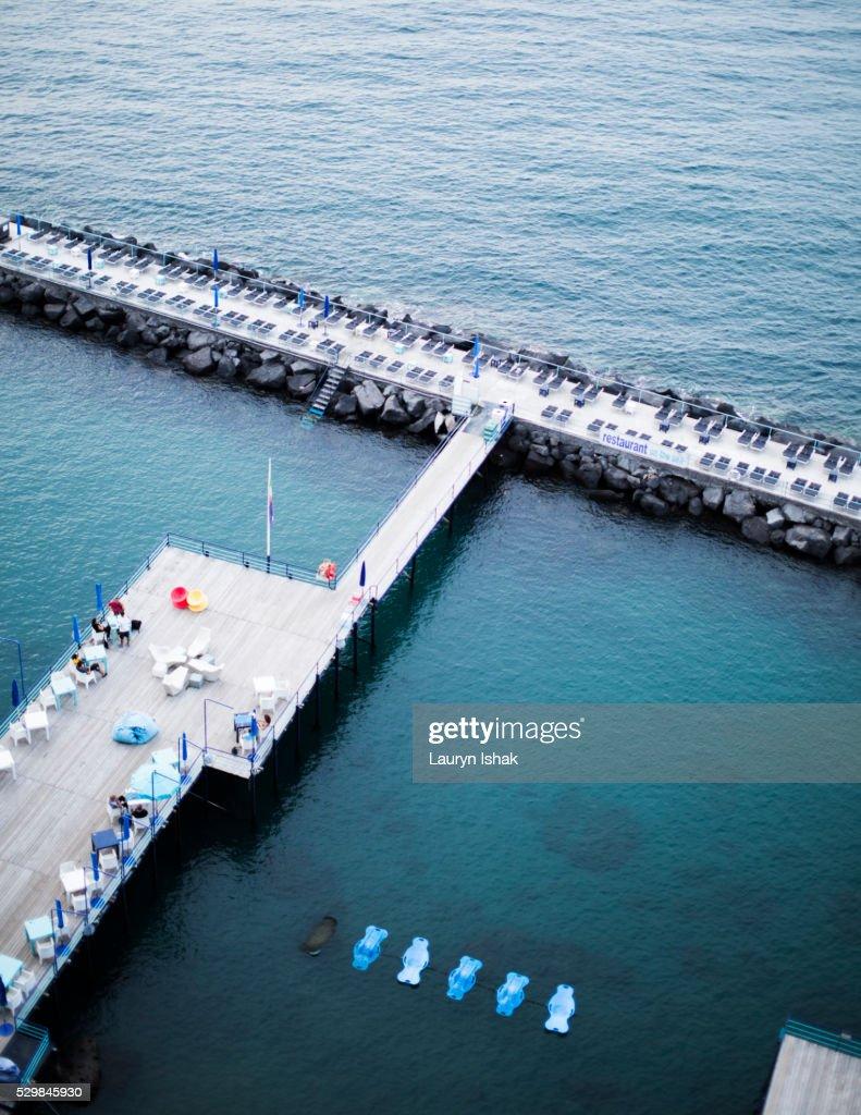 Sundecks on the coast of Sorrento, Italy : Stock Photo