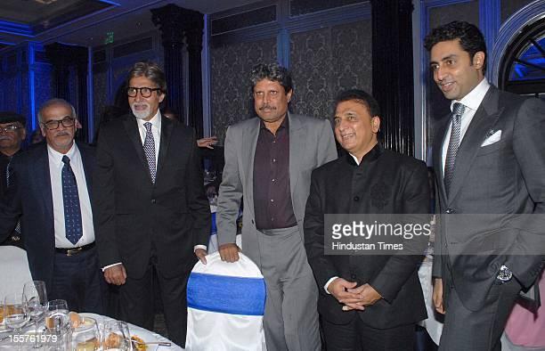 Sunder Chainani, Amitabh Bachchan, Kapil Dev Sunil Gavaskar and Abhishek Bachchan pose for the cameras attend an event organised by Ulysse Nardin to...